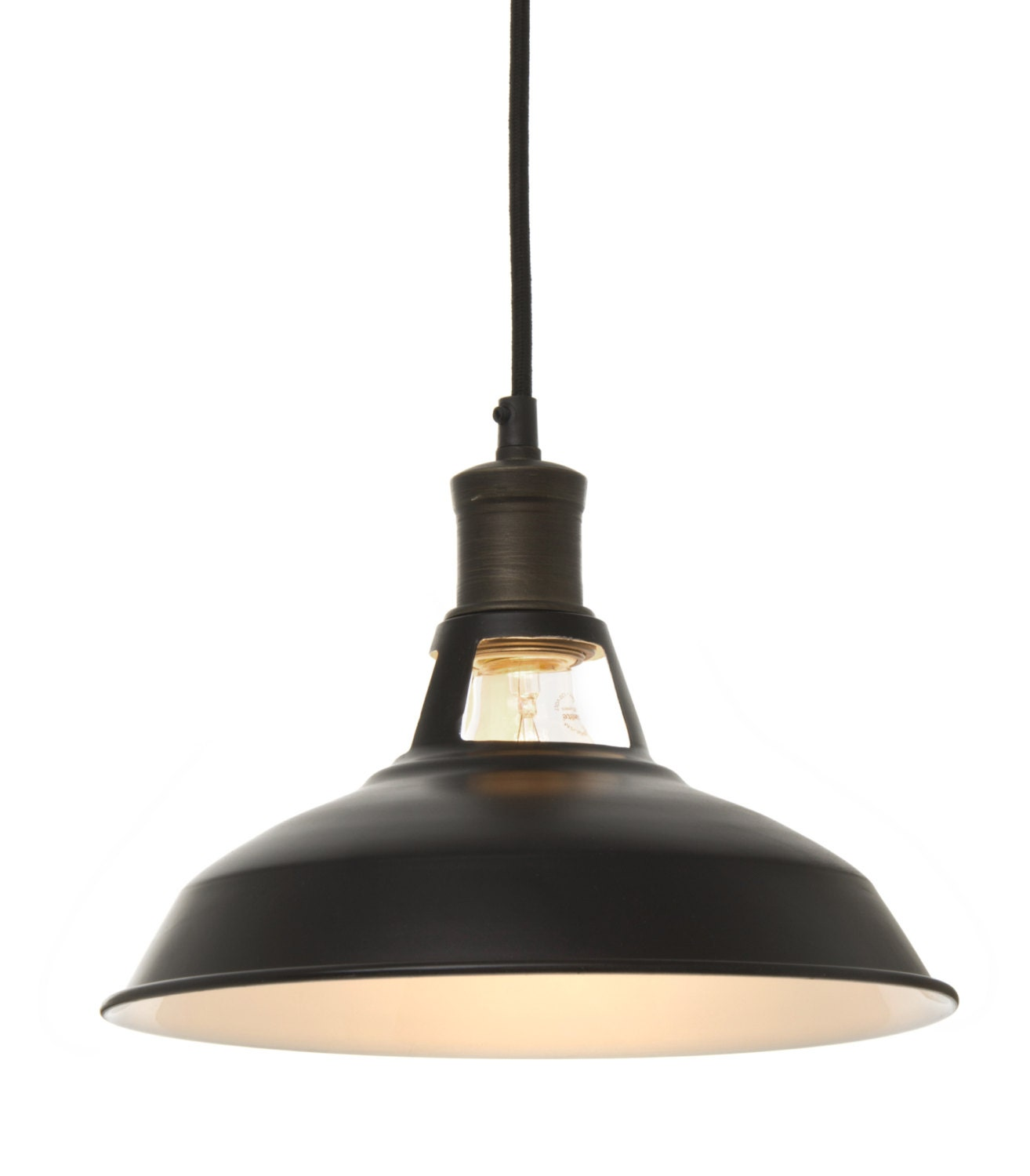 vintage barn pendant light black by fabricwire on etsy