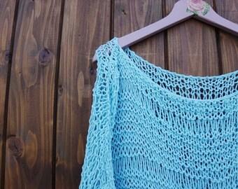 Oversize long sweater / Cotton blue sweater/ Turquoise Sweater / handknit sweater/ Oversized Sweater/ Loose knit sweater