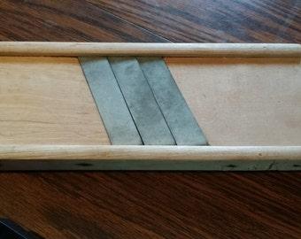 Vintage U.S. Wood Cabbage Shredder triple slicer Blade