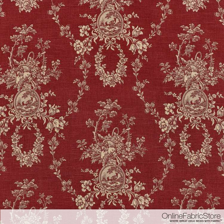 Waverly Country House Toile Red Fabric By The Yard