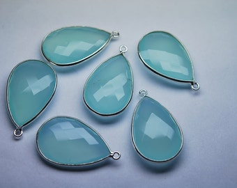 925 Sterling Silver, Aqua Chalcedony Faceted Pear 28mm Stones,4 Pieces of 28mm