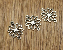 20pcs Daisy Flower Connector Charms Antique Silver Tone Connector 25*19mm TS198