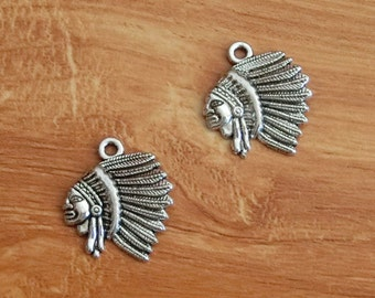20pcs Native American Charms Indians Indian Charm Antique Silver Tone 21*19mm  TS538