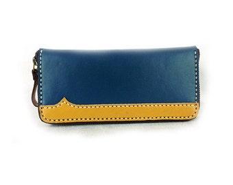Long Wallet, Blue Leather