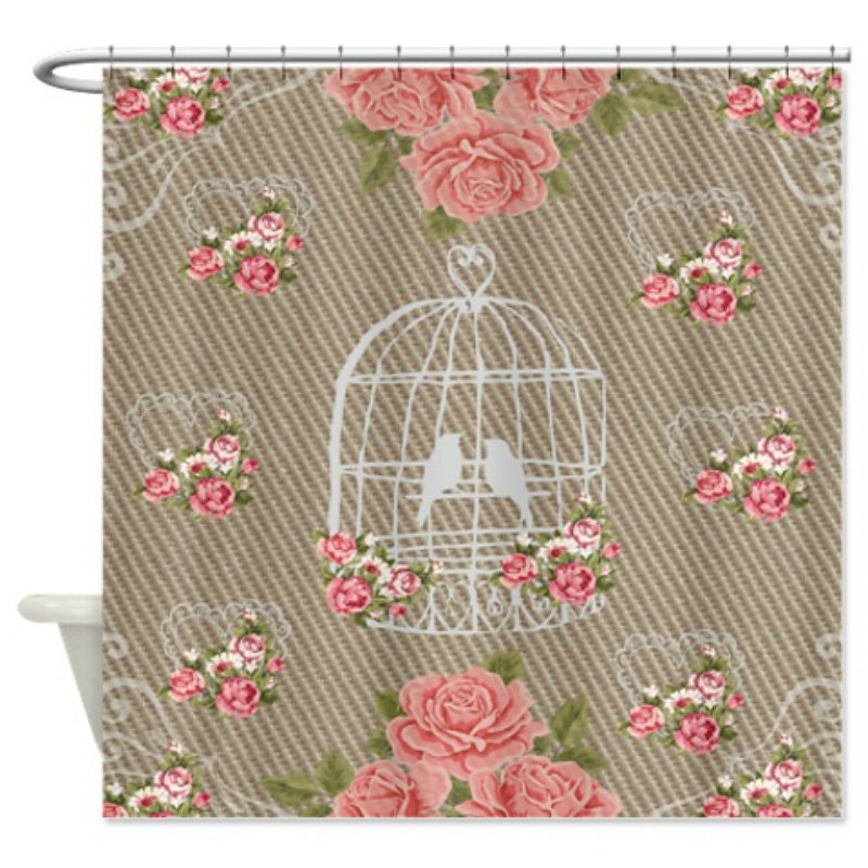 Shower Curtain Vintage Style Shabby Chic Roses by FolkandFunky