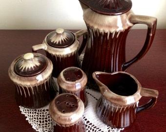 Vintage Brown Dipped Tea Set made in Japan, Teapot set, Brown teapot set