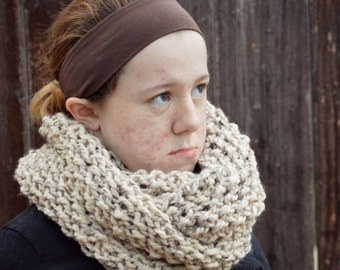 handknit oversized warm and wooly chunky scarf cowl - in oatmeal