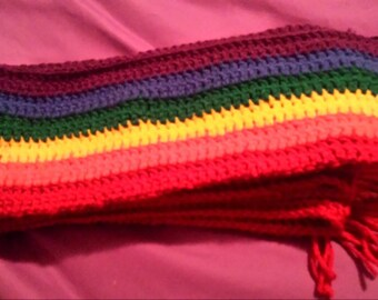 Hand Crocheted Rainbow Dash/Gay Pride Scarf!