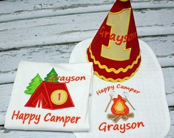 Camping Birthday Set, Camping Birthday Shirt, Boys Birthday Outfit