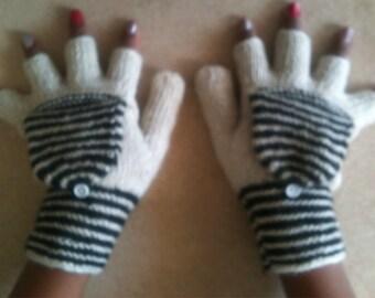 Alpaca Gloves - Handknit white glittens with black stripes