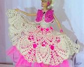 Hot Pink Barbie Ball Gown Outfit - Crochet OOAK Barbie Princess Dress - Crocheted Doll Clothes: Beige Long Dress, Jacket and Underskirt