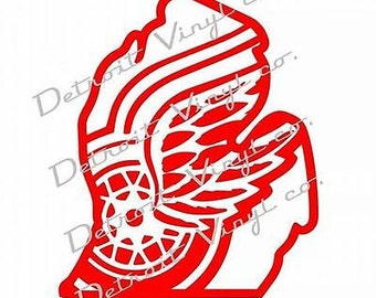 Detroit Red Wings logo inside michigan outline Sticker Decal