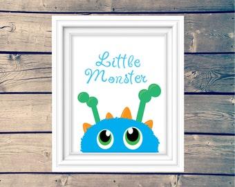 INSTANT DOWNLOAD, nursery print, little monster, toddler wall decor, printable, downloadable print, typography, playroom art, monster room