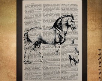 Da Vinci Horse Sketch Dictionary Art Print Upcycled Book Page Renaissance Drawing Wall Art Home Decor da808