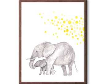 Baby Nursery Decor, Elephant Nursery Art, Kids Wall Art, Playroom Decor, Elephant Watercolor Nursery Art, New Baby Gift, E1503