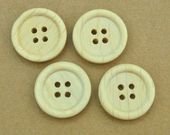 50pcs unfinished wooden button, 20mm round wood button, 4 holes,decorative button,Natural Wood.