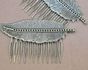Hair Combs,antique Bronze filigree leaf hair combs 12teeth Barrette Hair Combs (64x38mm)