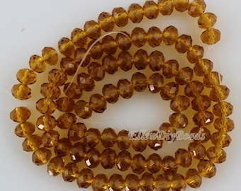100 Pieces,New 6mm Romantic Champagne Rondelle Faceted Crystal Beads, ChampagneCrystal Beads,1Strand,Gemstone Beads,Supplies-BR080