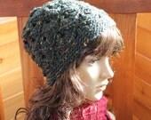 HANDMADE Crocheted Black Beanie. Medium/Large. Women's Winter Hat. Black Hat. Slouchie Beanie.