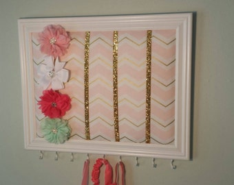 Pink and Gold Chevron headband and hair bow frame organizer