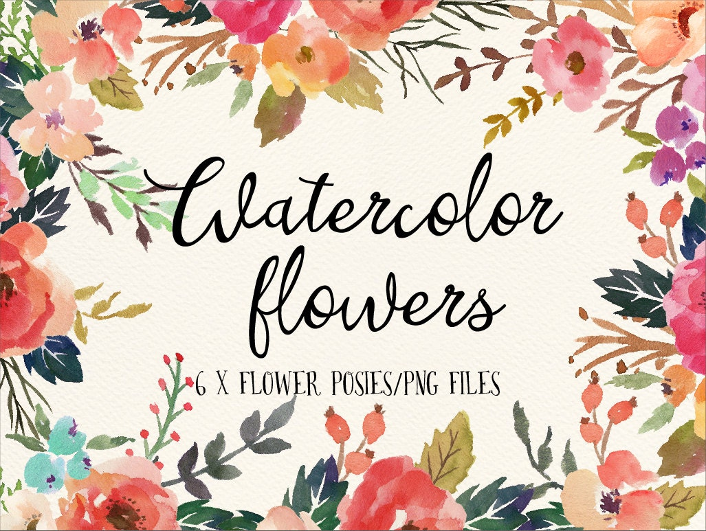Watercolor flower posies/PNG files/Wedding by GraphicSafari