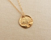 Gold Tree Necklace, Gold Tree of Life Pendant
