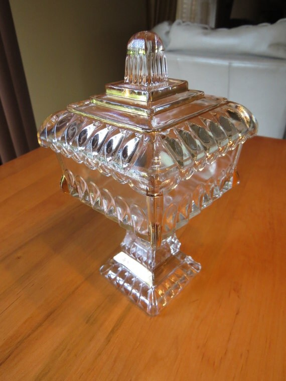 Jeanette Glass Wedding Cake Box Square Compote Vintage