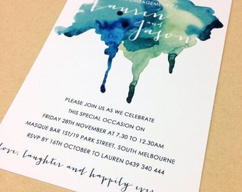Engagement Invitation - watercolor design