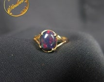Smoked Welo Wello Black opal gold ring // red-blue //  18K solid gold // handmade // US 6.5 // unique // cab // Ethiopia Africa