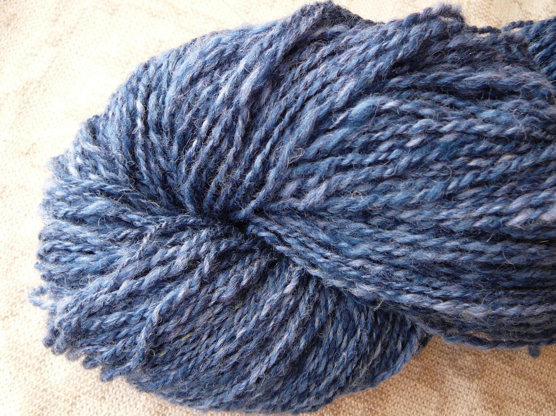 Knitting With Handspun : Handspun yarn blue worsted wool knitting