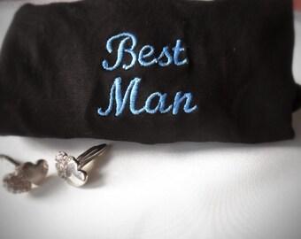Best Man Gift, Groomsmen Gift. Embroidered Black Cotton Mens Boxer Shorts. Mens Wedding Underwear, Wedding Gift