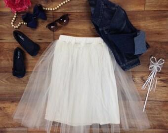 Girls Ivory Tulle Midi Skirt, Ivory Tulle Skirt, Girls Tulle Skirt, Tulle Skirt for Girls Sizes 2/3, 4/5, 6/6X, 7/8, 10/12 Ready to Ship