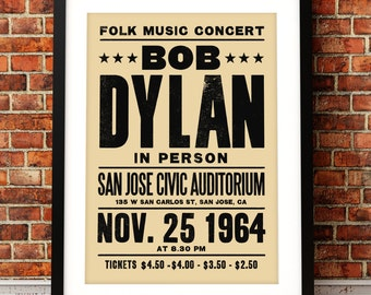 Bob Dylan concert poster, Bob Dylan art print, music print, Bob Dylan, concert poster, Bob Dylan print, folk music, 60's music