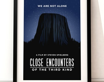 Close Encounters of the Third Kind poster, Close Encounters poster print, film poster, typographic print, film poster, Steven Spielberg