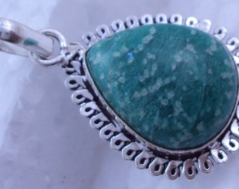 free shipping  f-67  huge AMAZONITE  oxodized .925 Silver  handmade pendant jewelry