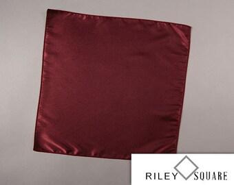 Wine Satin Pocket Square, Wedding Pocket Square, Formal Pocket Square, Wine Handkerchief, Fashion Accessories