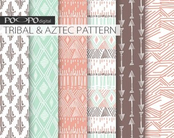 Hand drawn tribal digital paper pastel mint coral native aztec pattern decorative background peach pink turquoise arrow scrapbook art image