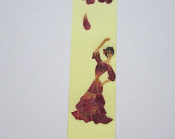 """Handmade unique bookmark """"Energy"""" - Decorated with dried pressed flowers and herbs - Original art collage."""