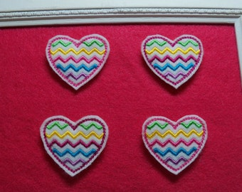 Multicolor Chevron Heart Feltie Choice of colors
