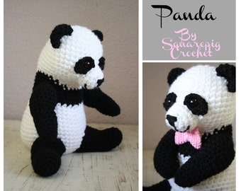 Panda Crochet pattern, this Panda is about 10 inches and has a little bow!