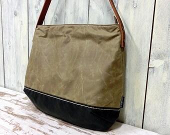 Crossbodybag, waxed cotton