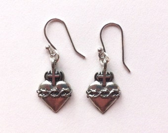Sterling Silver Sacred Heart Milagro Earrings with Sterling Silver Hooks