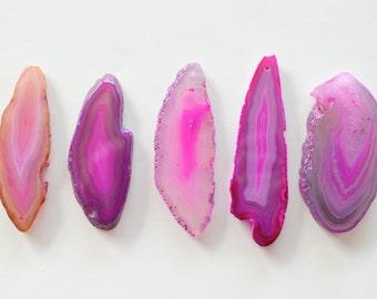 Agate Slice Pendant, Hot Pink, Bright Pink, Fuschia Agate Pendant, Large Agate Slice, Agate Geode Slice Pendant, Stone Pendant