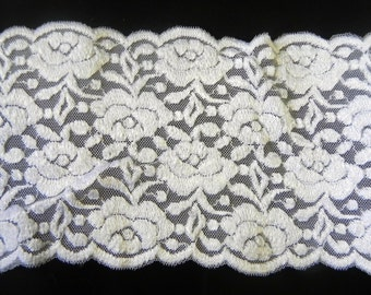 "White Floral Stretch Lace 4"" wide  Underwear, Activewear, Headbands"