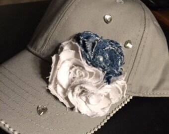 Grey Baseball Hat With Denim and White Denim Flowers