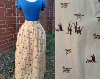 80s Novelty Print Duck Hunter and Bird Dog Corduroy Skirt M