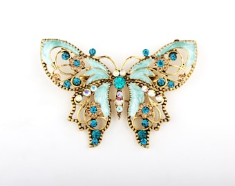 Turquoise Tiffany Blue Butterfly Pin Brooch, DIY Bridal Brooch Bouquet Lot, Bridesmaid Gift, Wedding Accessory