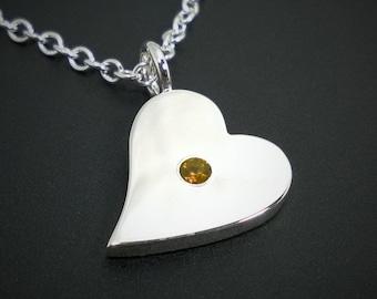 Citrine Sideways Heart Necklace Pendant in Sterling Silver - Sterling Silver Heart Necklace, Sterling Silver Heart Pendant, Cirtine Necklace