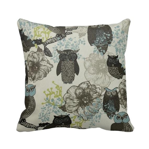 Zippered Hoot Owl Throw Pillow Case Black Blue Citrine Grey