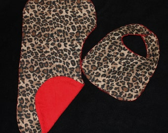 Leopard Red Baby Gift Set Girl Bib, Burp Cloth
